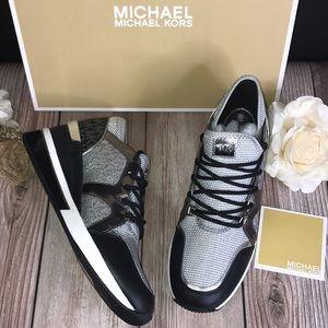 Michael Kors Black/Silver Leather Sneakers 8M